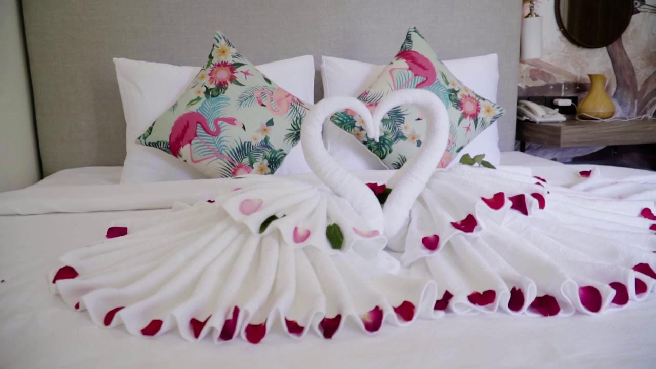 Giường ngủ thiết kế cho các cặp đôi tại khách sạn Green Oasis Tuy Hòa